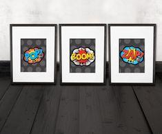 comic prints, superhero decor, 3 quality prints, shipped to your door