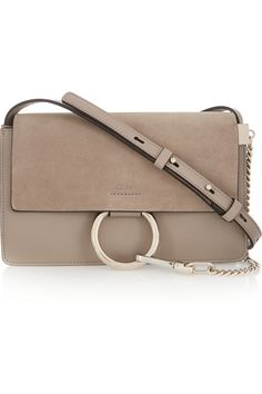 Chloé|Faye small leather and suede shoulder bag