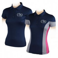 """Camiseta Polo Horses """"Rina"""" T Shirt Logo Design, Polo Shirt Design, Polo Design, Stylish Scrubs, Sports Polo Shirts, Look Office, University Outfit, Shirts For Girls, Blouses For Women"""