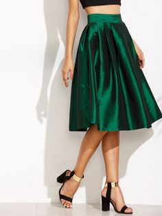 Shop Green Zipper Side Umbrella Skirt online. SheIn offers Green Zipper Side Umbrella Skirt & more to fit your fashionable needs.