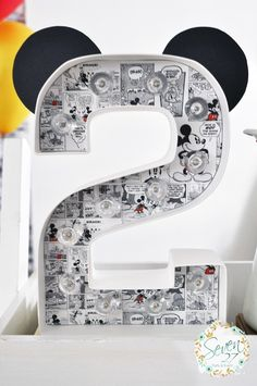 """""""2"""" with Mickey ears from Vintage Mickey Mouse Themed Birthday Party at Kara's…"""