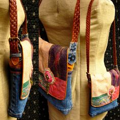 Handmade Upcycled Denim Purse with Velvet by GreenLeavesBoutique