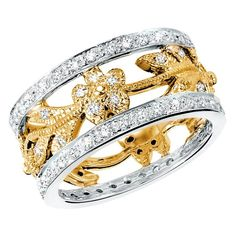 Majesty Diamonds - 5/8 CTW Diamond Cocktail Right Hand Ring in 14K White and Yellow Gold #diamondring #fashionpost