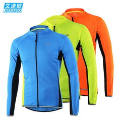 334107348fd445 Arsuxeo Spring Summer Men Breathable Quick Dry Long Sleeve Running Jacket Cycling  Shirt Mountain Bike Top