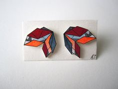 GEOMETRIC CRYSTAL earrings // unique hand-drawn shrink plastic stud earrings, post earrings, jewelry, jewellery, one of a kind, art jewelry