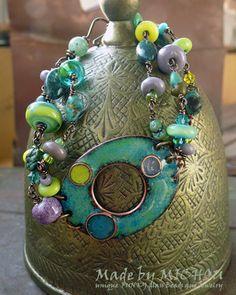 Copper Enamel Art  Bracelet  enameled copper by MichouJewelry, $179.00