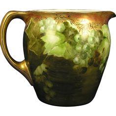 Jean Pouyat (JP) Limoges Green Grapes Motif Cider/Lemonade Pitcher (c.1890-1932)
