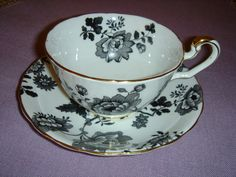 """Victoria Bone China Cup and Saucer, England. """" Mandarin"""" Pattern in Black and White.  *SOLD*"""