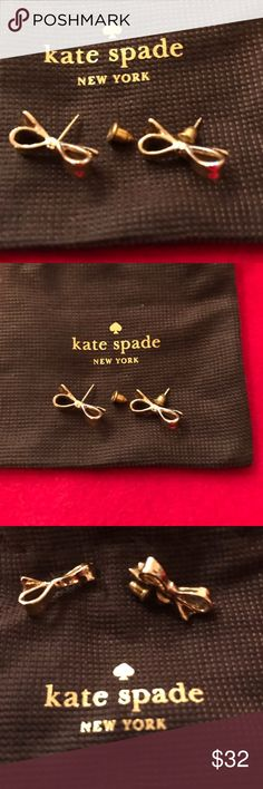 Kate Spade Rose Gold Bow Earrings Kate Spade Rose Gold Bow Earrings. These are quite lovely! Original KS Dustcover included. (pictured)  If you have any questions or would like additional photos please feel free to contact me. kate spade Jewelry Earrings