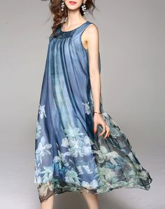 Aqua Blue Sleeveless Floral Print Silk Midi Dress, Blue, WLZD | VIPme