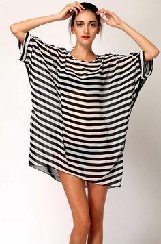 Black And White Striped Chiffon Beach Dress / Beach Cover Up