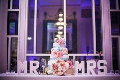 My wedding cake and wedding table set-up Chevron wedding cake, wedding, MR & MRS, bridal bouqet