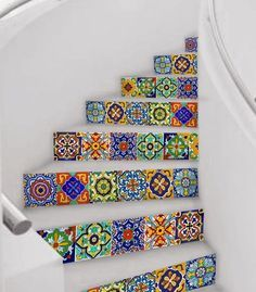 For a beach house 💚Mexican Talavera tile decal: Mexican Talavera is a well known handicraft of Mexico. Taking the inspiration from hand painted tiles & the colorThe Best Mexican Tile Stairs For Your Spanish Style DécorThese Talavera ceramic tiles Painted Stairs, Painted Tiles, Hand Painted, Painted Wood, Flooring For Stairs, Tile Stairs, Mosaic Stairs, Floor Decal, Tile Decals