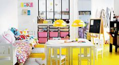 Kids Bedroom: 10 of The Most Cool Ikea Kids Room Design, Cheerful Yellow and White Kids Playroom from IKEA Catalog 2013 Ikea Kids Playroom, Kids Playroom Furniture, Playroom Design, Kids Room Design, Playroom Ideas, Children Playroom, Furniture Ideas, Playroom Table, Nursery Design