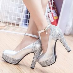 e30a11401cc Women s Leatherette Chunky Heel Closed Toe Platform Pumps With Sparkling  Glitter - Wedding Shoes - JJsHouse