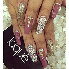 Orchard Purple with Glitter and Rhinestone Design Tapered Square Nails. Pinterest: @PrettyAssRae