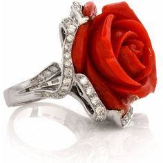 Coral Diamond Gold Flower Cocktail Ring ($5,999) ❤ liked on Polyvore featuring jewelry, rings, red gold ring, 18 karat gold ring, gold flower ring, red ring and 18k yellow gold ring