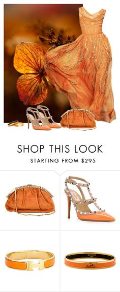 """""""Orange Crush"""" by lorrainekeenan ❤ liked on Polyvore featuring Judith Leiber, Valentino and Hermès"""