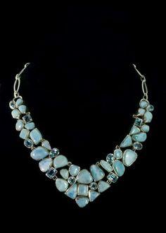 Blue topaz and larimar necklace.