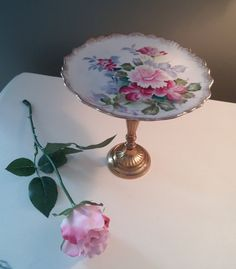 J Andrews Floral China Plate on Brass/Gold Pedestal, China Pedestal Stand, Trinket Dish, Victorian Decor, Shabby Chic Decor on Etsy, $28.00