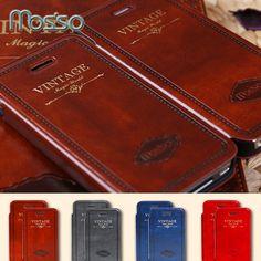 Flip case cubierta de cuero de lujo retro de la vendimia para iphone 7 6 6 s plus 4 Mosiso 4S 5 5S SÍ Casos Contraportadas Teléfono Retro Bolsas de Capa