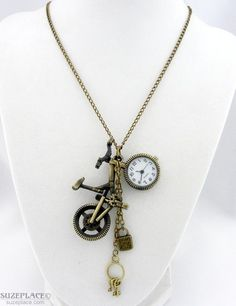 DIY Bicycle Pendant Watch Charm Necklace SuzePlace.com