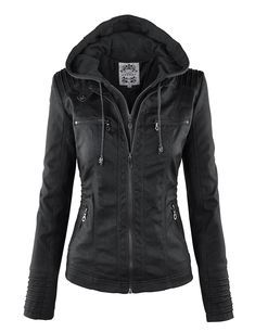 online shopping for Lock Love Women's Hooded Faux Leather Moto Biker Jacket from top store. See new offer for Lock Love Women's Hooded Faux Leather Moto Biker Jacket Leather Jacket With Hood, Vegan Leather Jacket, Biker Leather, Faux Leather Jackets, Leather Coats, Real Leather, Soft Leather, Brown Leather, Coats For Women