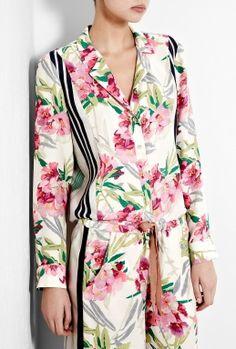 Floral Printed Silk Pyjama Shirt