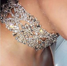 Chunky elegant rhinestone choker necklace Details  Rhinestone Zinc Alloy Imported One Size Fits All