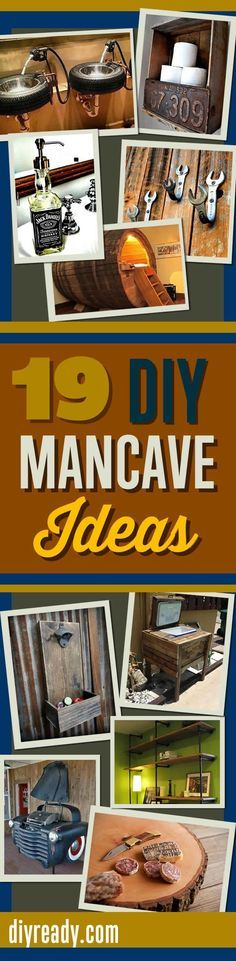 Awesome DIY Mancave Ideas! Furniture, cool decor and best DIY Projects for decking out the perfect man cave with DIY Furniture and fixtures. Men Love these http://diyready.com/man-cave-ideas-19-diy-decor-and-furniture-projects/ Follow me on twitter @fernanmedequill