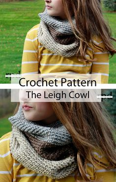 Leigh Color Blocked Crochet Cowl Pattern - Rescued Paw Designs