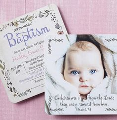 Create Baptism invitations that capture the glory of bringing baby into the world. | Tiny Prints