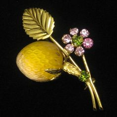 austria fruit pin - I don't think I have ever seen this type in yellow before