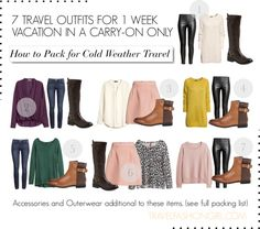 Three bottoms: 1 jean, 1 pant, 1 skirt worn twice can give you 6 outfits! [How to Pack for Cold Weather Part 2: Travel Outfits]