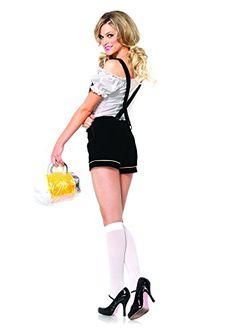 Leg Avenue Women's 2 Piece Edelweiss Lederhosen Costume, White/Black, Medium