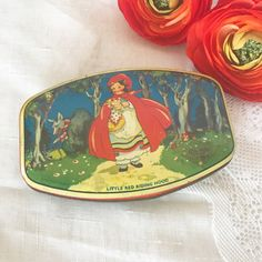 Vintage Little Red Riding Hood Tin litho box Nursery Rhyme Fairy Tale Riley's Toffee Retro Advertising Nursery décor vanity trinket by WonderCabinetArts