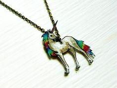shrink film jewelry | Unicorn Necklace, Shrink Plastic Jewelry, Rainbow, Sparkle, Mystical ...