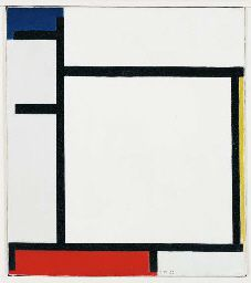 Composition with Blue, Yellow, Red and Grey    oil on canvas, 15½ x 13¾ in. (39.4 x 34.8 cm.)   Painted in 1922