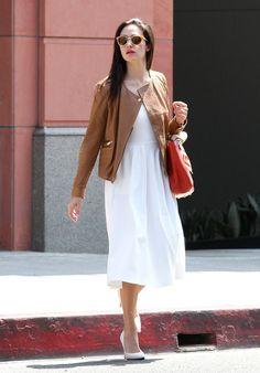Emmy Rossum Leather Jacket - Leather Jacket Lookbook - StyleBistro