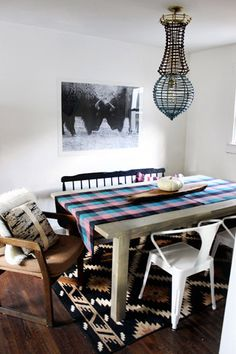 Young House Love - One young family + one old house = love. Chair Mix Up Mismatched Chairs, Young House Love, Dining Table, Dining Area, Dining Room, Autumn Home, Apartment Living, Decoration, Living Spaces