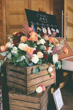 rustic wedding flowers with wooden crates / http://www.deerpearlflowers.com/country-wooden-crates-wedding-ideas/3/
