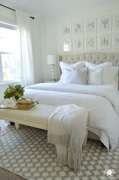 Create an Inviting Guest Retreat (All White Bedroom!)  This looks so calm.  I love the rug.