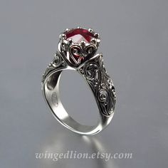 The Enchanted Princess gold Ruby engagement ring by WingedLion Ruby Engagement Ring Vintage, Gothic Engagement Ring, Gemstone Engagement Rings, Engagement Jewelry, Vintage Rings, Vintage Jewelry, Antique Jewelry, Jewelry Art, Jewelry Rings