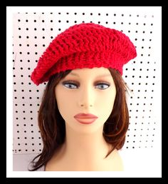 Red Crochet Hat Womens Hat Summer Hat for Women Crochet Beanie Hat ANDREA Beret Hat Red Hat in Cotton 35.00 USD by #strawberrycouture on #Etsy - MUST SEE!