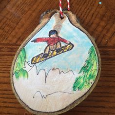 """Snowboard ready to shred it in the Colorado high country. This was made from aspen on our property high in the Rockies. Great gift or stocking stuffer. Approx 3"""" wide."""