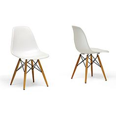 @Overstock.com - Add a contemporary touch to any room with these retro white accent chairs. The set of two chairs are made from molded plastic, have wooden legs, and feature a matte finish. The ergonomic shape and curved seat provides maximum comfort for your guests.http://www.overstock.com/Home-Garden/Wood-Leg-White-Accent-Chairs-Set-of-2/4429638/product.html?CID=214117 $168.40