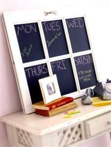 I got a frame just like this at a thrift store and this is the exact same idea I had, now all I need is chalkboard paint : )