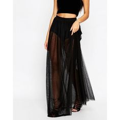 ASOS Sheer Maxi Skirt with Knicker Short (160 BRL) ❤ liked on Polyvore featuring skirts, long skirts, jersey maxi skirt, see through skirt, tall maxi skirt and jersey skirt