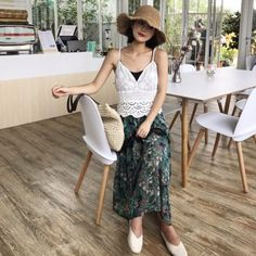TE1721YJWL Lace splicing long skirt with lace backless vest and tube top Product Detail: COLOR: As the picture Fabric: Lace + Chiffon WEIGHT: 0.340kg SIZE: One size Skirt Length: 82cm, Waist: 66m (elastic)