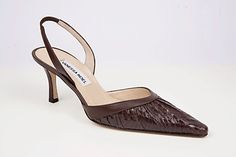 Garbo Sling Brown: Sophisticated sling back in ruched whip snake. Handmade in Italy.